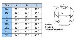 sweatshirt size chart 300x161 - Size Chart