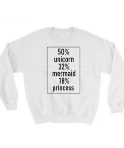 50 Unicorn 32 Mermaid 18 Princess Sweatshirt