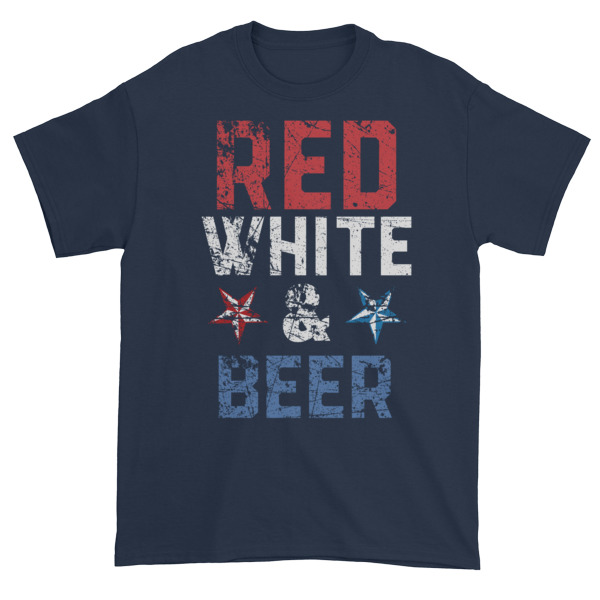 Red white and beer Independence Day 4th July Short sleeve t shirt