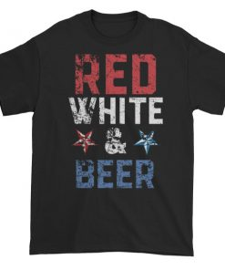 Red white and beer - Independence Day 4th July Short sleeve t-shirt