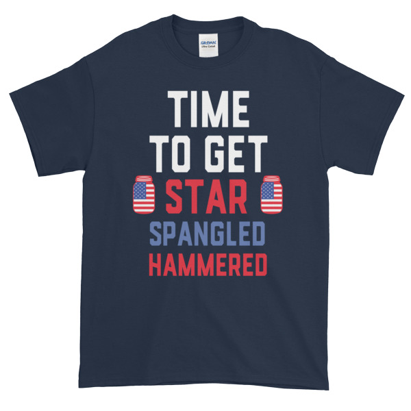 mockup e743a55e - Time to get star spangled hammered - funny 4th of July Short sleeve t-shirt