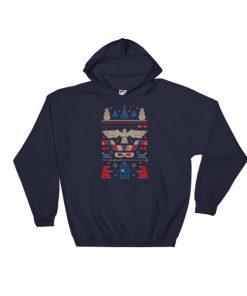Doctor Who Tardis Police Box Pattern Ugly Christmas Hooded Sweatshirt