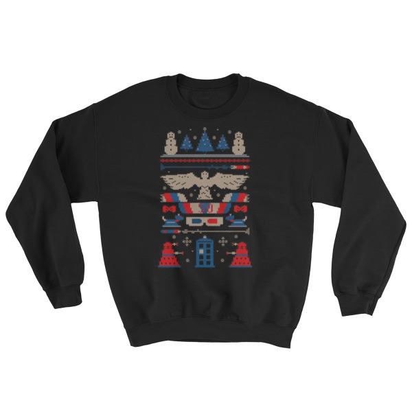 mockup 0f3e4e83 - Doctor Who Tardis Police Box Pattern Ugly Christmas Sweatshirt
