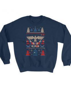 Doctor Who Tardis Police Box Pattern Ugly Christmas Sweatshirt