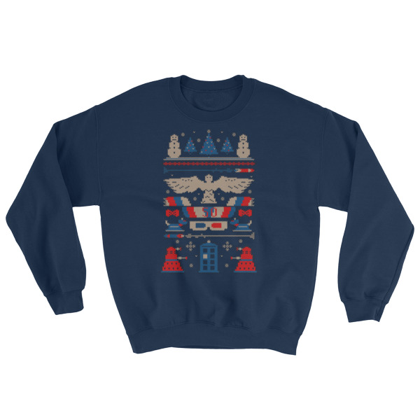mockup 51cb7d9f - Doctor Who Tardis Police Box Pattern Ugly Christmas Sweatshirt