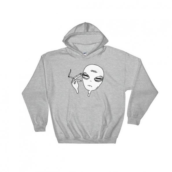 alien smoking Hooded Sweatshirt