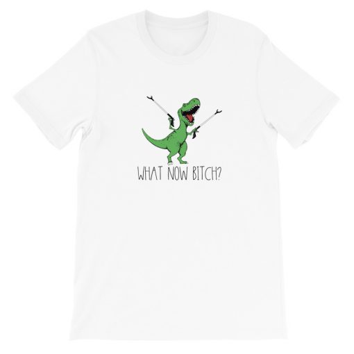mockup e6d51c97 510x510 - Dinosaurs T-Rex What now bitch Short-Sleeve Unisex T-Shirt
